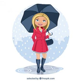 Woman under the rain