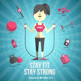 Woman with fitness elements