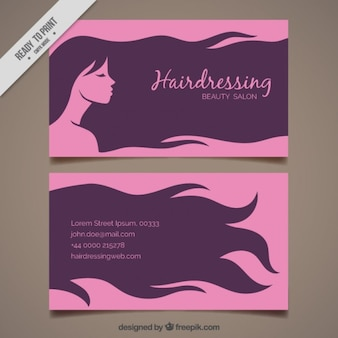 Woman with long hair hairdressing card