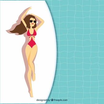 Woman with swimsuit in the swimming pool background