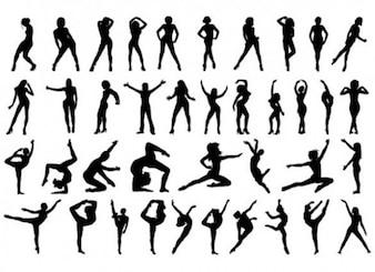 Women aerobics silhouettes set