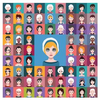 Women avatars collection