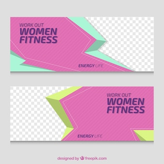 Women fitness banner pack