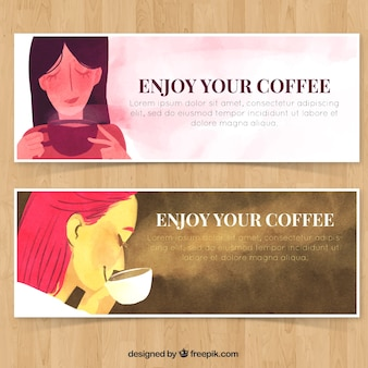 Women having a cup of coffee banners