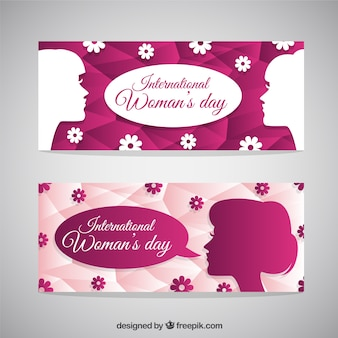 Women pink banners