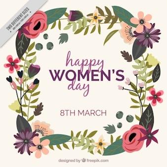 花のフレームと女性の日の背景