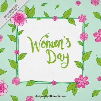 Women's day background with pink flowers and green leaves