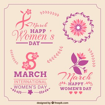 Women's Day badges and labels