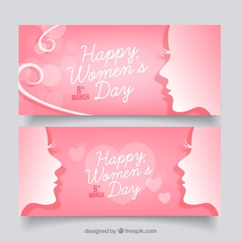 Women's day banners in pink tones