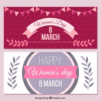 Women's day banners in vintage style