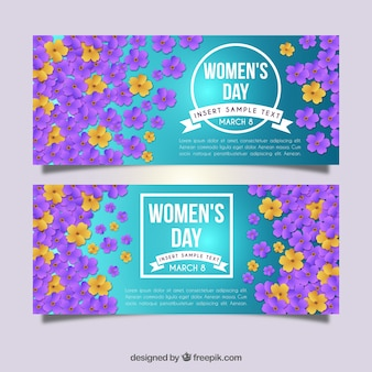 Women's day banners with floral decoration