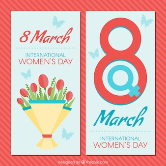 Women's day banners with flowers and butterflies