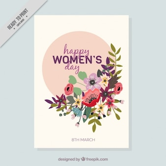 Women's day card with floral decoration in flat design