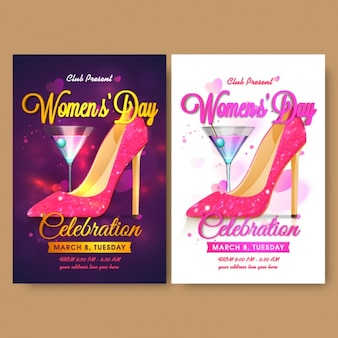Women's day flyer template with cocktail and high heel