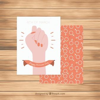 オレンジ色の詳細と女性の日のグリーティングカード