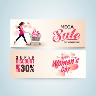 Women's day sale banners with pink details
