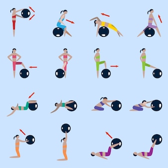 Women silhouettes with fitness ball sport exercises icons set isolated vector illustration
