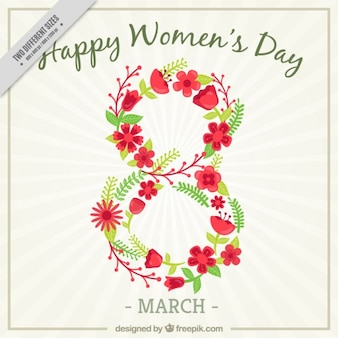 Womens day background with eight made with flowers