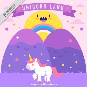 Wonderful world with a unicorn and nice sun background
