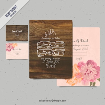 Wood wedding invitation with flowers