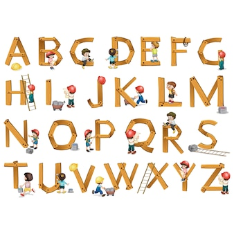 Wooden alphabet design