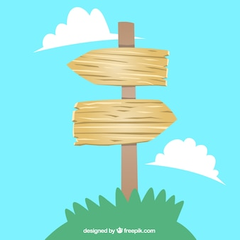 Wooden arrows signpost