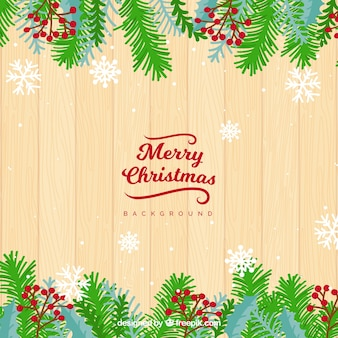 Wooden background and christmas decoration