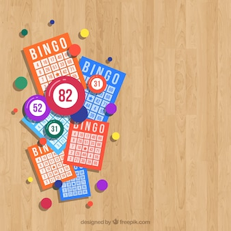Wooden background with bingo ballots