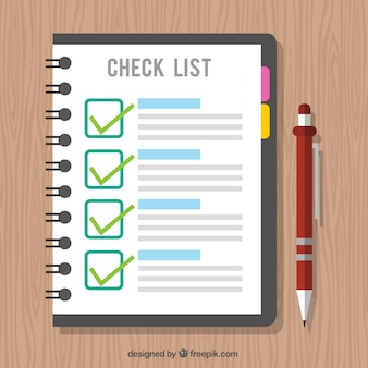 Wooden background with checklist and pen