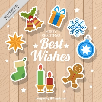 Wooden background with christmas elements stickers