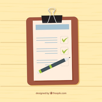 Wooden background with clipboard and checklist