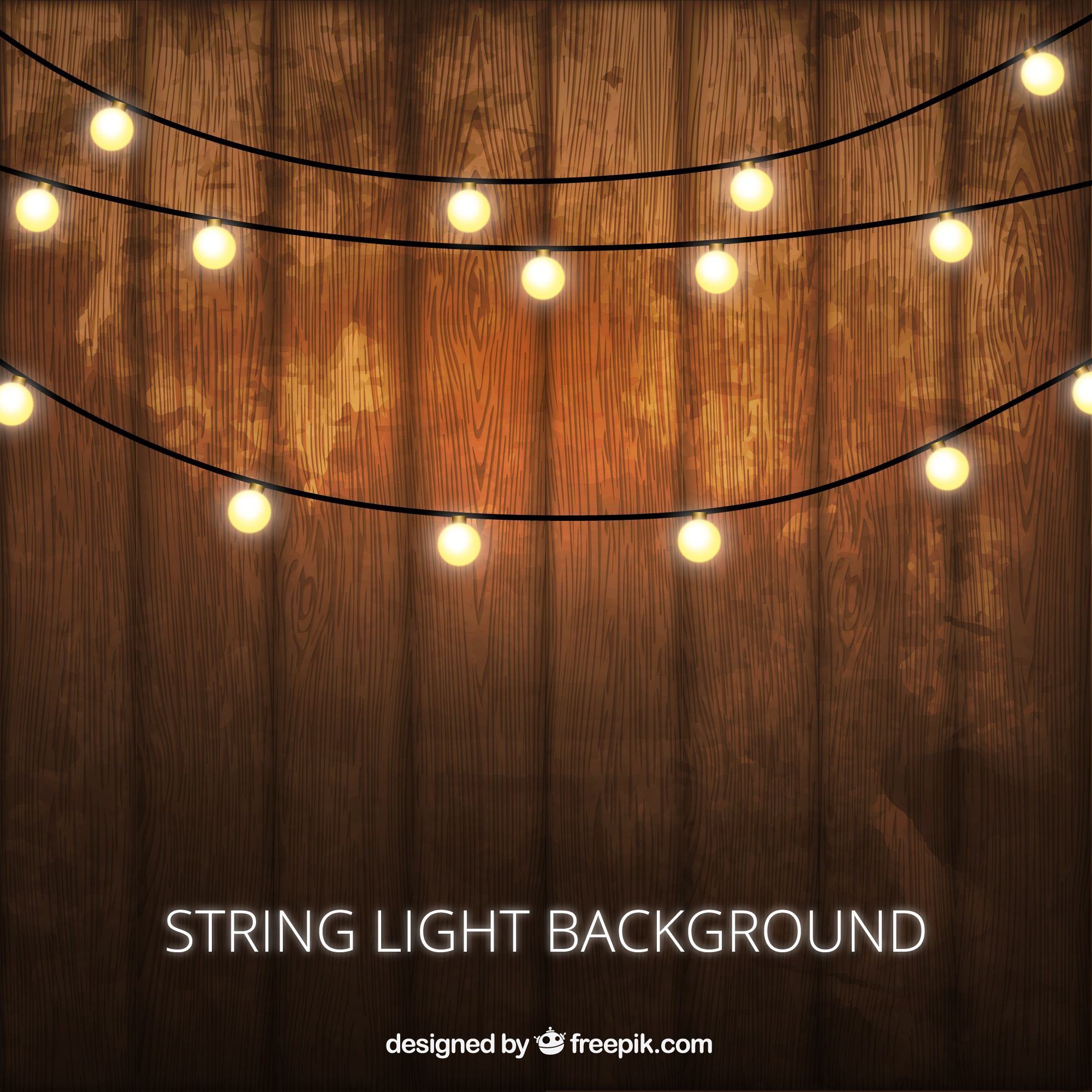 Wooden background with decorative lightbulbs