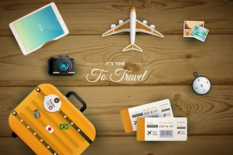 Wooden background with travel elements
