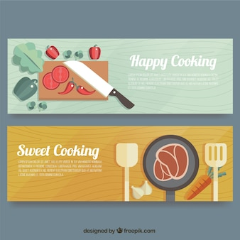 Wooden banners with tasty products