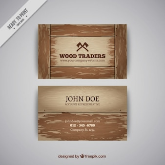 Wooden business card in brown tones