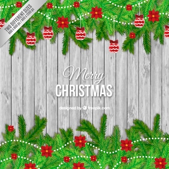 Wooden christmas background and garlands