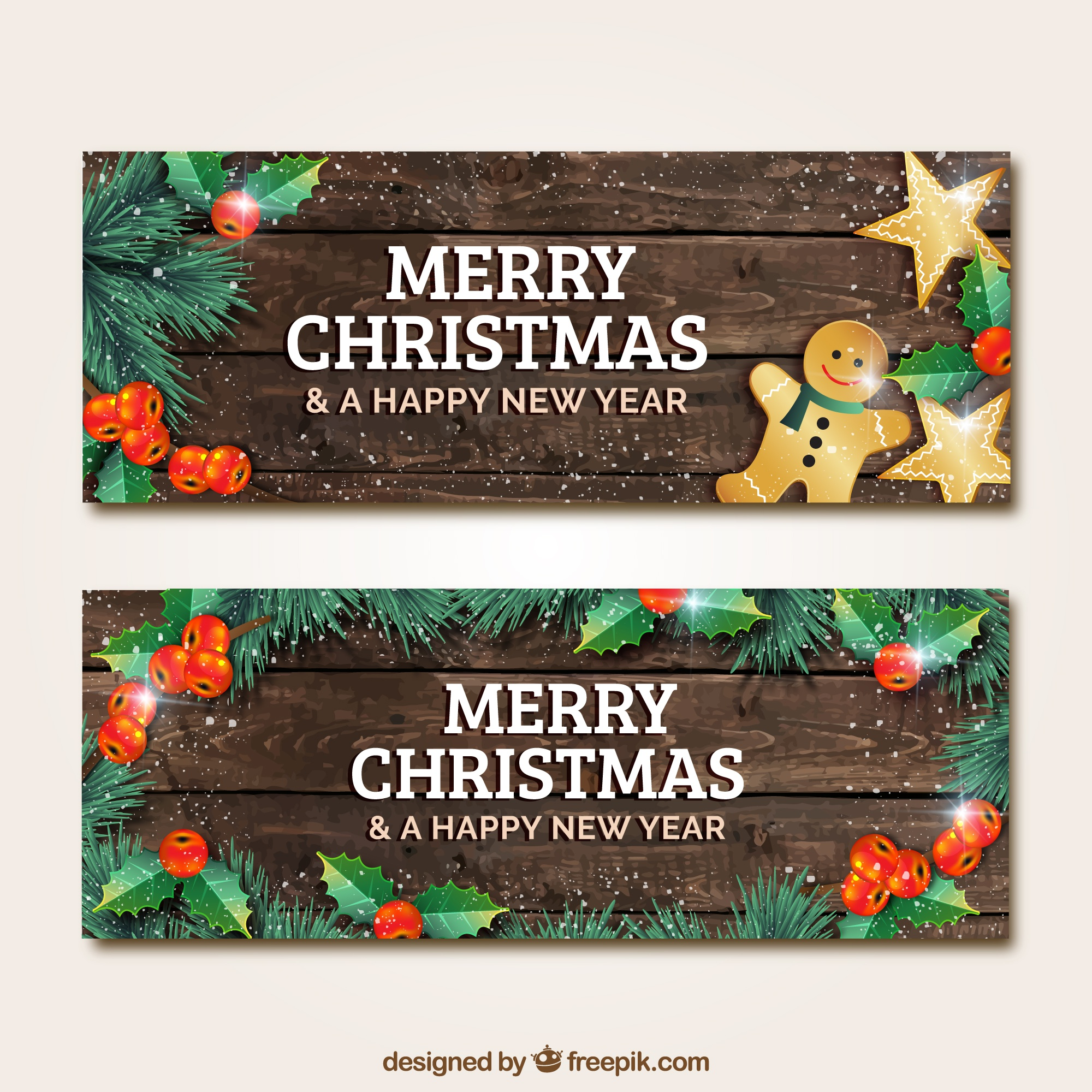 Wooden christmas banners