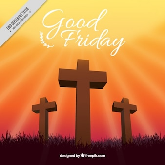 Wooden crosses good friday background