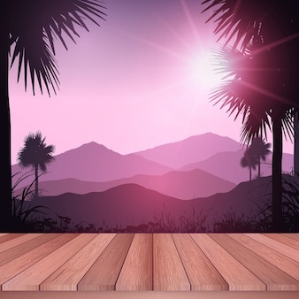 Wooden decking looking out to a tropical landscape