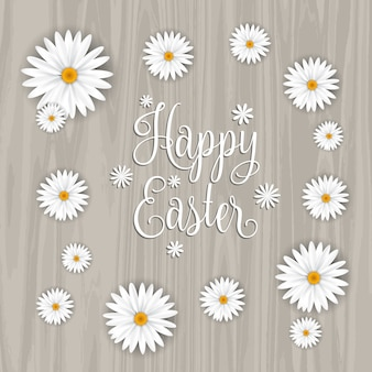 Wooden easter background with daisies