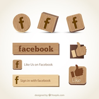 Wooden facebook icons
