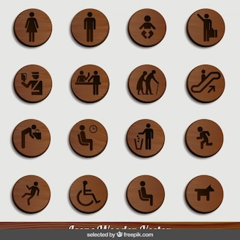 Wooden human icons