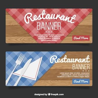 Wooden restaurant banners