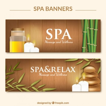 Wooden spa banners