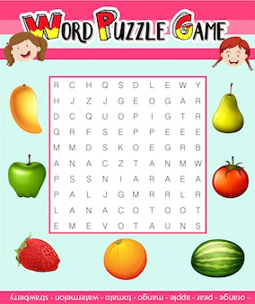 Word puzzle game template with fruit theme illustration