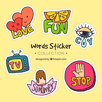 Words stickers colection