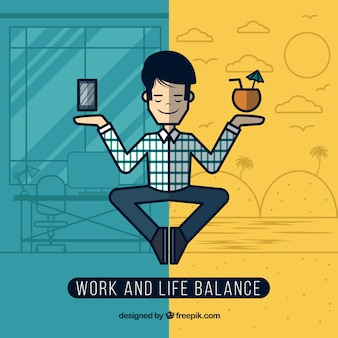 Work and life balance in line style