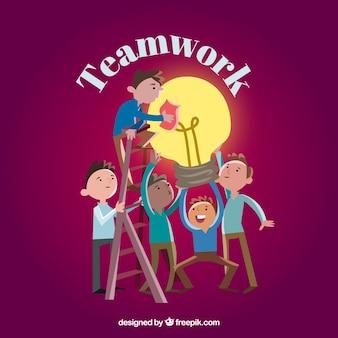 Work team with a light bulb
