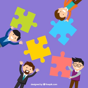 Work team with a puzzle pieces