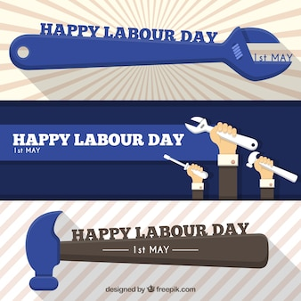 Work tools banners for labour day